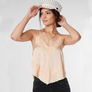 Free People Lace Peach Tank Top